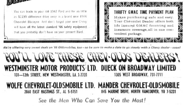 chev olds dealers province jul 66