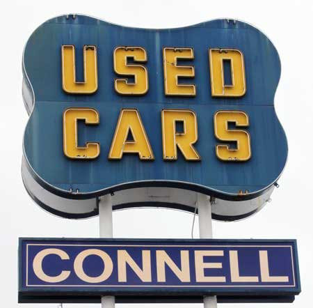 dealer connell gm used neon sign oakland ca
