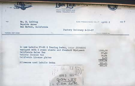 dealer don lee cadillac invoice san fran 1937