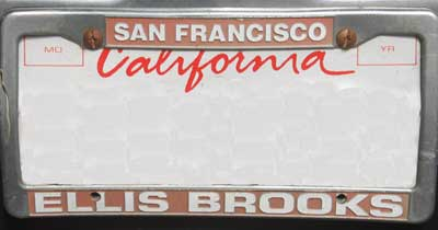 dealer ellis brooks san fran ca license plate