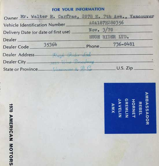dealer hugh rider AMC 1970 owner manual warranty