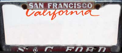 dealer s and c ford san fran ca liceense frame