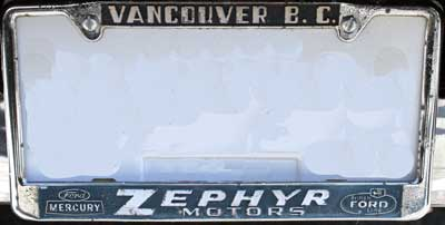 Zephyr ford mercury license frame Vancouver BC